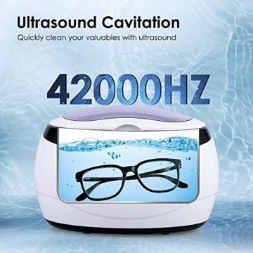 himaly Ultraschallreiniger,650ML Ultraschallreiniger Reinigungsgerät Ultraschallreinigungsgerät Reiniger Reinigungswerkzeug Reinigung von Schmuck Uhren Brillen Zahnersatz - 2