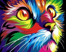 [ Holzrahmen oder nicht] Malen nach Zahlen Neuerscheinungen Neuheiten - DIY Gemälde durch Zahlen, Malen nach Zahlen Kits - colorful cat, 16 * 20 Zoll - digitales Ölgemälde Segeltuch Wand Kunst Grafik für Heim Wohnzimmer Büro Decor Decorations Geschenke - DIY Farbe durch Zahl DIY Segeltuch-Kit für Erweiterte Erwachsene Kinder Senioren Junior - Neue Ankunfts -
