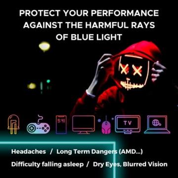 Horus X – Blaulicht-Brille GAMING 2.0 - Ruhebrille Ultimativer Schutzfilter - Anti-Blaulicht-Bildschirm (PC-Computerkonsolen-Videospiele) - Gamer & e-Sportzubehör - Männer und Frauen (Unisex) - 5
