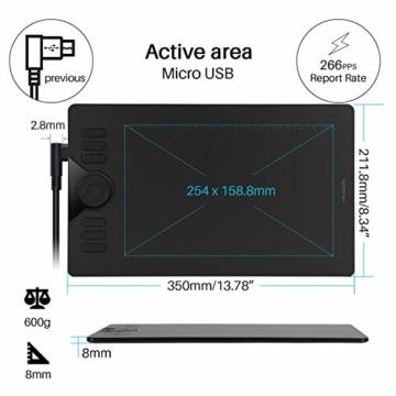 HUION Grafik-Grafiktablett HS610 10 x 6,25 Zoll Tilt-Funktion Das batteriefreie Stifttablett mit 12 + 16 Express-Tasten unterstützt OS Android 6.0 neben Windows und macOS - 5