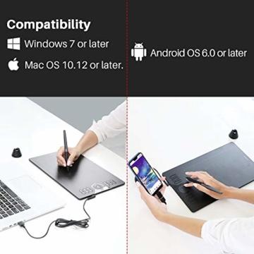 HUION Grafik-Grafiktablett HS610 10 x 6,25 Zoll Tilt-Funktion Das batteriefreie Stifttablett mit 12 + 16 Express-Tasten unterstützt OS Android 6.0 neben Windows und macOS - 7