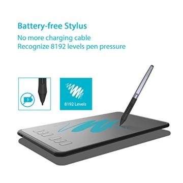 Huion H640P 8192 Drucksensitivität Grafiktablett mit batterielosem Stift und 6 anpassbaren Funktionstasten - 2