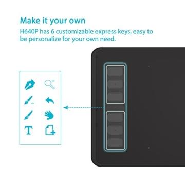 Huion H640P 8192 Drucksensitivität Grafiktablett mit batterielosem Stift und 6 anpassbaren Funktionstasten - 4