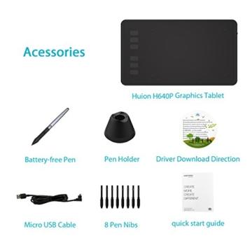 Huion H640P 8192 Drucksensitivität Grafiktablett mit batterielosem Stift und 6 anpassbaren Funktionstasten - 5