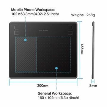 HUION HS64 Grafiktablett (unterstützt OS Android) 6,3 x 4 Zoll 8.192 Stufen Drucksensitivität kombiniert mit Stift-Neigefunktion-2019 - 2