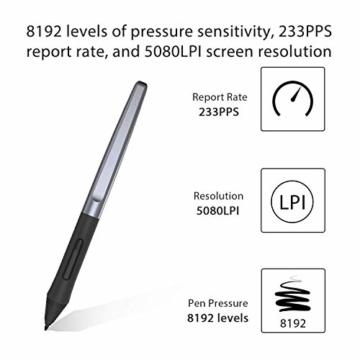 Huion Inspiroy H950P Grafiktablett 8 benutzerdefinierbare ExpressKeys mit batterielosem digitalen Stift Kann Tilt-Funktion aktualisieren - 4