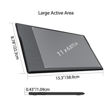 HUION Inspiroy Q11K V2, 8192 Druckempfindlichkeitsstufen, Kabelloses Grafiktablet mit batteriefreiem Stift und unterstützender Stift-Neigungssensor-Funktion - 7