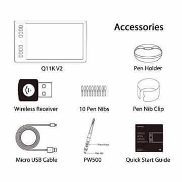 HUION Inspiroy Q11K V2, 8192 Druckempfindlichkeitsstufen, Kabelloses Grafiktablet mit batteriefreiem Stift und unterstützender Stift-Neigungssensor-Funktion - 8