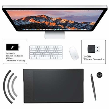 Huion INSPIROY Q11K Wireless Digitales Grafik Zeichnen Stift Tablet mit 8192 Druckstufen und 8 Shortcut Keys Tasten drahtlos ein Freier Handschuh - 4