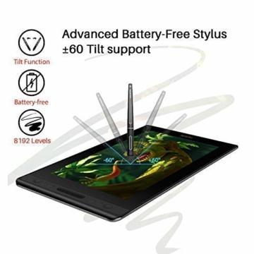 HUION Kamvas PRO 12 HD 11,6 in Tablet-Monitor-Neigungsfunktion unterstützt einen batterielosen Stift mit 8192 Druckstufen und 4 Schnellzugriffstasten 1 Touch Bars-Grafiktablett mit Bildschirm - 2