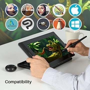 HUION Kamvas PRO 12 HD 11,6 in Tablet-Monitor-Neigungsfunktion unterstützt einen batterielosen Stift mit 8192 Druckstufen und 4 Schnellzugriffstasten 1 Touch Bars-Grafiktablett mit Bildschirm - 8