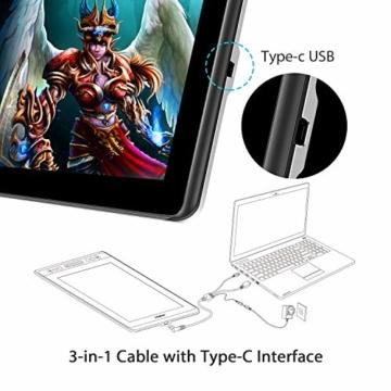 HUION KAMVAS PRO 13 13,3-Zoll BATTERIELOSES Grafiktablett mit Display 8192 Stift-Druckstufen mit TILT-Funktion und 4 Schnelltasten und Touch Bar - 6