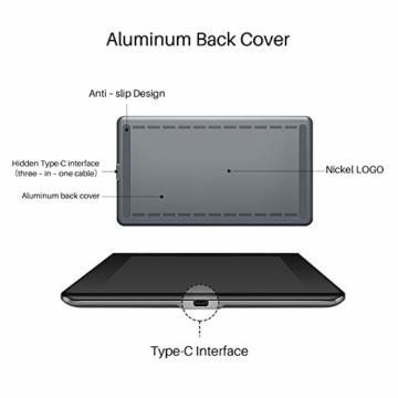 HUION Kamvas Pro 16 15,6-Zoll-IPS-Display Grafiktabletts mit voll laminiertem, blendfreiem Glasbildschirm, 6 anpassbaren Direktaufruftasten, 1 Touch-Leiste und batterielosem Stift - 2