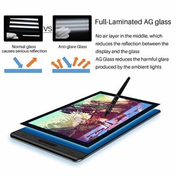 HUION Kamvas Pro 16 15,6-Zoll-IPS-Display Grafiktabletts mit voll laminiertem, blendfreiem Glasbildschirm, 6 anpassbaren Direktaufruftasten, 1 Touch-Leiste und batterielosem Stift - 3