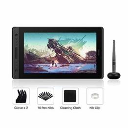 HUION Kamvas Pro 16 15,6-Zoll-IPS-Display Grafiktabletts mit voll laminiertem, blendfreiem Glasbildschirm, 6 anpassbaren Direktaufruftasten, 1 Touch-Leiste und batterielosem Stift - 1