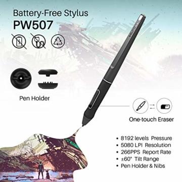 HUION Kamvas Pro 16 15,6-Zoll-IPS-Display Grafiktabletts mit voll laminiertem, blendfreiem Glasbildschirm, 6 anpassbaren Direktaufruftasten, 1 Touch-Leiste und batterielosem Stift - 4