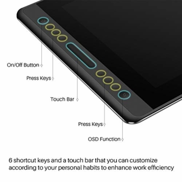 HUION Kamvas Pro 16 15,6-Zoll-IPS-Display Grafiktabletts mit voll laminiertem, blendfreiem Glasbildschirm, 6 anpassbaren Direktaufruftasten, 1 Touch-Leiste und batterielosem Stift - 5