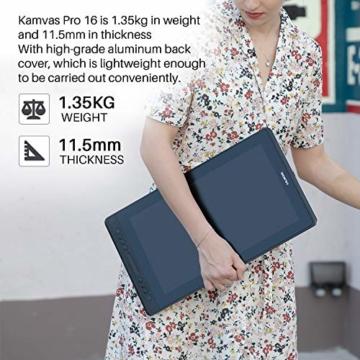 HUION Kamvas Pro 16 15,6-Zoll-IPS-Display Grafiktabletts mit voll laminiertem, blendfreiem Glasbildschirm, 6 anpassbaren Direktaufruftasten, 1 Touch-Leiste und batterielosem Stift - 6