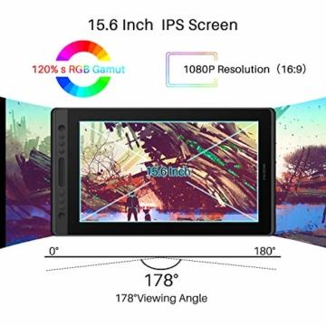 HUION Kamvas Pro 16 15,6-Zoll-IPS-Display Grafiktabletts mit voll laminiertem, blendfreiem Glasbildschirm, 6 anpassbaren Direktaufruftasten, 1 Touch-Leiste und batterielosem Stift - 8