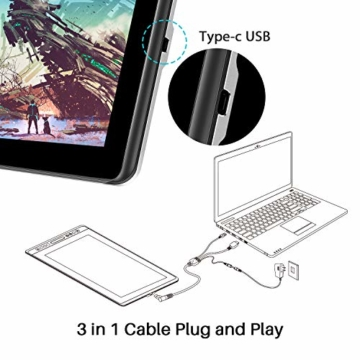 HUION Kamvas Pro 16 15,6-Zoll-IPS-Display Grafiktabletts mit voll laminiertem, blendfreiem Glasbildschirm, 6 anpassbaren Direktaufruftasten, 1 Touch-Leiste und batterielosem Stift - 9