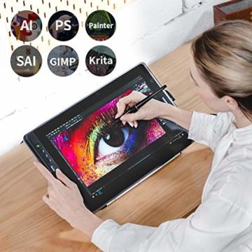 HUION Kamvas Pro 16 15,6-Zoll-IPS-Display Grafiktabletts mit voll laminiertem, blendfreiem Glasbildschirm, 6 anpassbaren Direktaufruftasten, 1 Touch-Leiste und batterielosem Stift - 10
