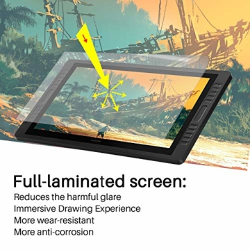 HUION Kamvas Pro 22(2019) 21.5-Zoll-Volllaminierter blendfreier Glas-Bildschirm Grafik-Display mit 20 Hotkeys und 2 Touch-Leisten und verstellbarem Ständer - 3