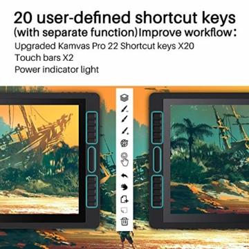 HUION Kamvas Pro 22(2019) 21.5-Zoll-Volllaminierter blendfreier Glas-Bildschirm Grafik-Display mit 20 Hotkeys und 2 Touch-Leisten und verstellbarem Ständer - 4