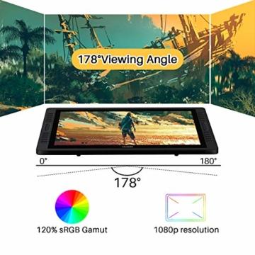 HUION Kamvas Pro 22(2019) 21.5-Zoll-Volllaminierter blendfreier Glas-Bildschirm Grafik-Display mit 20 Hotkeys und 2 Touch-Leisten und verstellbarem Ständer - 5