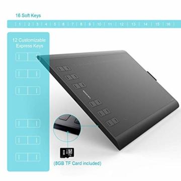 HUION New 1060 Plus Grafiktablett mit 8192 Stiftdruckempfindlichkeit 12 + 16 HotKeys Zeichentabletts für digitales Zeichnungsdesign Bildbearbeitung mit 1 Tragetasche und 1 Tabletthandschuh geliefert - 5