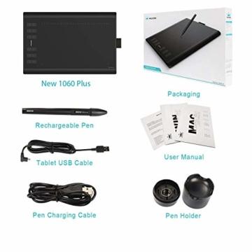HUION New 1060 Plus Grafiktablett mit 8192 Stiftdruckempfindlichkeit 12 + 16 HotKeys Zeichentabletts für digitales Zeichnungsdesign Bildbearbeitung mit 1 Tragetasche und 1 Tabletthandschuh geliefert - 6