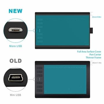 HUION New 1060 Plus Grafiktablett mit 8192 Stiftdruckempfindlichkeit 12 + 16 HotKeys Zeichentabletts für digitales Zeichnungsdesign Bildbearbeitung mit 1 Tragetasche und 1 Tabletthandschuh geliefert - 2