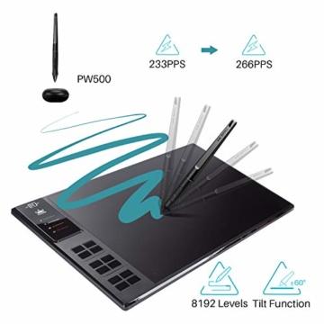 HUION WH1409 V2 Batteriefreies Grafiktablett im Wire & Wireless-Modus mit 8192 Druckempfindlichkeitsniveaus 12 Express-Tasten kombiniert mit Tilt-Funktion - 2