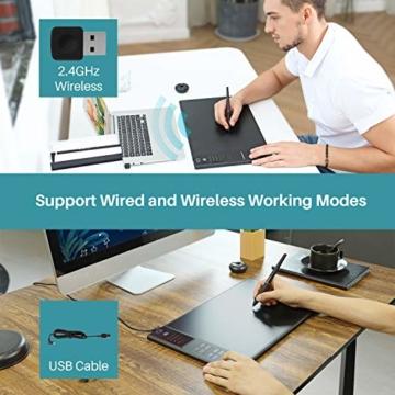 HUION WH1409 V2 Batteriefreies Grafiktablett im Wire & Wireless-Modus mit 8192 Druckempfindlichkeitsniveaus 12 Express-Tasten kombiniert mit Tilt-Funktion - 3