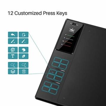 HUION WH1409 V2 Batteriefreies Grafiktablett im Wire & Wireless-Modus mit 8192 Druckempfindlichkeitsniveaus 12 Express-Tasten kombiniert mit Tilt-Funktion - 4