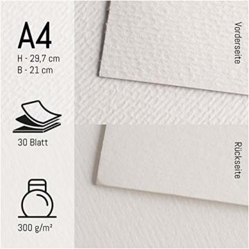 int!rend Aquarellpapier, 300 g, DIN A4, 30 Blatt, Weiß, geleimt, Aquarellblock, Watercolour Paper Pad, inklusive zwei Pinsel, Malblock Papier für Aquarell, Zeichnen, Malen - 2