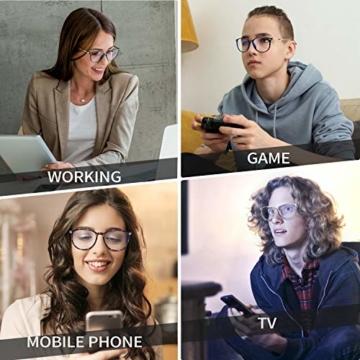 Joopin Blaulichtfilter Brille Damen und Blaufilter Brille Herren Computerbrille Gaming Brille Bluelight Filter PC Brille Schwarz - 2