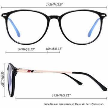 Joopin Blaulichtfilter Brille Damen und Blaufilter Brille Herren Computerbrille Gaming Brille Bluelight Filter PC Brille Schwarz - 3