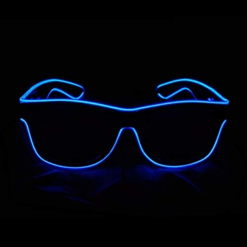KingCorey Leuchten Sie EL Wire Neon Rave Brille Glow Flashing LED Sonnenbrille Kostüme für Party, EDM, Halloween (Blau) - 2