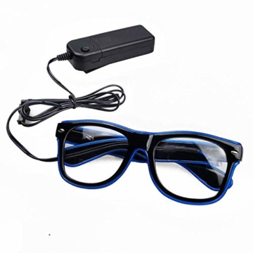 KingCorey Leuchten Sie EL Wire Neon Rave Brille Glow Flashing LED Sonnenbrille Kostüme für Party, EDM, Halloween (Blau) - 4