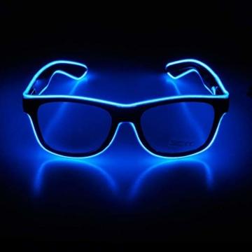 KingCorey Leuchten Sie EL Wire Neon Rave Brille Glow Flashing LED Sonnenbrille Kostüme für Party, EDM, Halloween (Blau) - 1
