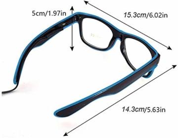 KingCorey Leuchten Sie EL Wire Neon Rave Brille Glow Flashing LED Sonnenbrille Kostüme für Party, EDM, Halloween (Blau) - 6