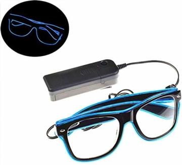 KingCorey Leuchten Sie EL Wire Neon Rave Brille Glow Flashing LED Sonnenbrille Kostüme für Party, EDM, Halloween (Blau) - 7