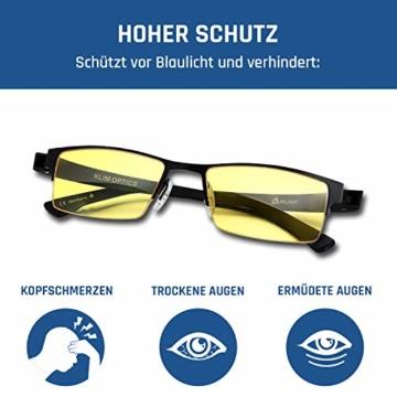 KLIM Optics - Blaulichtfilter Brille + Hoher Schutz + Gaming Brille für PC, Handy und Fernseher + Anti-Müdigkeit, Anti-Blaulicht, UV-Schutz [ Neue 2021 Version ] - 4