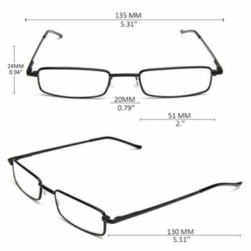 KOOSUFA Lesebrillen Herren Damen Tragbar Brillenhülle Metall Klassische Scharnier Schmal Leichte Stil Stärken lesebrille mit Etui Taschenclip Brillenetui (3 Stück Schwarz, 1.5) - 2