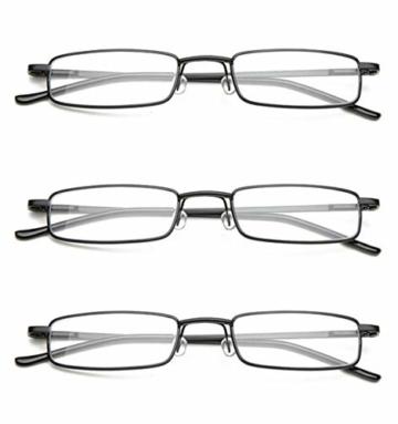 KOOSUFA Lesebrillen Herren Damen Tragbar Brillenhülle Metall Klassische Scharnier Schmal Leichte Stil Stärken lesebrille mit Etui Taschenclip Brillenetui (3 Stück Schwarz, 1.5) - 3