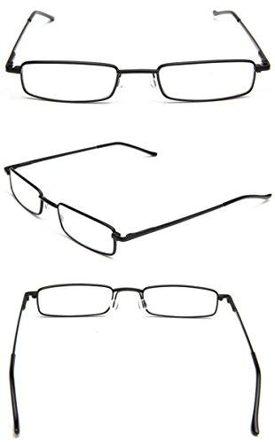 KOOSUFA Lesebrillen Herren Damen Tragbar Brillenhülle Metall Klassische Scharnier Schmal Leichte Stil Stärken lesebrille mit Etui Taschenclip Brillenetui (3 Stück Schwarz, 1.5) - 4