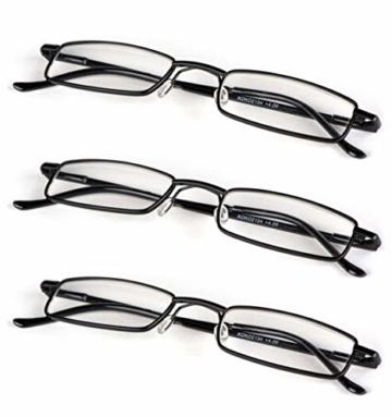 KOOSUFA Lesebrillen Herren Damen Tragbar Brillenhülle Metall Klassische Scharnier Schmal Leichte Stil Stärken lesebrille mit Etui Taschenclip Brillenetui (3 Stück Schwarz, 1.5) - 5