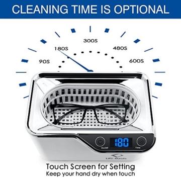 LifeBasis Ultraschallreiniger - Ultraschallreinigungsgerät 600ml Digitaler Ultraschallreiniger Ultraschallgerät 42KHz Ultraschall Gerät für Reinigung von Brille Schmuck Uhren - 6