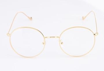 Lukis Brille Nerdbrille Retro Rund Unisex Metallgestell Brillenfassung Dekobrillen 140x50mm Gold - 2