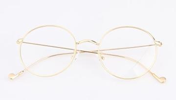 Lukis Brille Nerdbrille Retro Rund Unisex Metallgestell Brillenfassung Dekobrillen 140x50mm Gold - 3